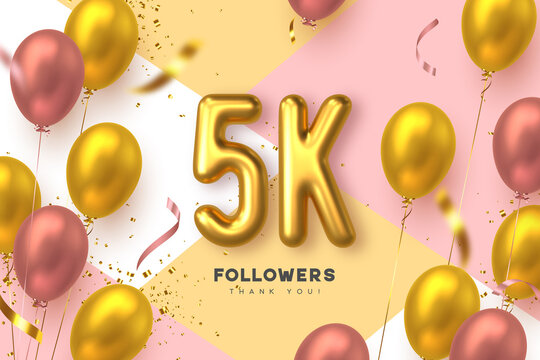 Five thousand followers banner. Thank you followers vector template with 5K golden sign and glossy balloons for network, social media friends and subscribers.