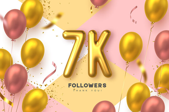 Seven thousand followers banner. Thank you followers vector template with 7K golden sign and glossy balloons for network, social media friends and subscribers.
