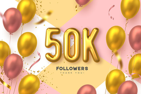 Fifty thousand followers banner. Thank you followers vector template with 50K golden sign and glossy balloons for network, social media friends and subscribers.