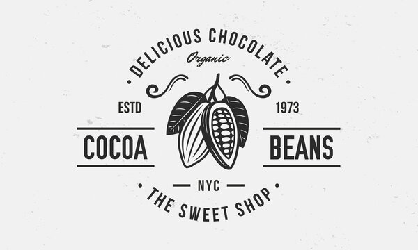 Chocolate logo, poster. Sweet Shop trendy logo with Cocoa Bean and leaves. Cocoa Beans, Cacao Vector emblem template.