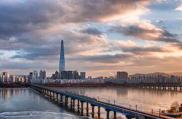 Skyline sunset at han river in Seoul South Korea.