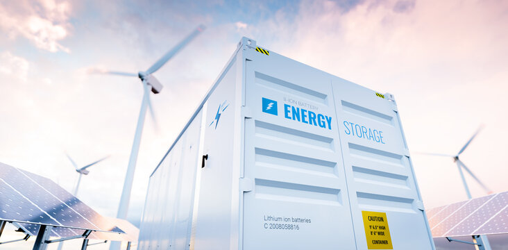 Conceptual image of a modern battery energy storage system with wind turbines and solar panel power plants in background. 3d rendering