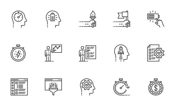 Maximum Performance. Personal Productivity, Workflow Automation, Proactive Personality, Productive Workflow. Set of Vector Line Icons. Editable Stroke. 64x64 Pixel Perfect.