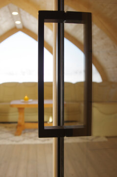 Cozy and beautiful sauna interior and exterior