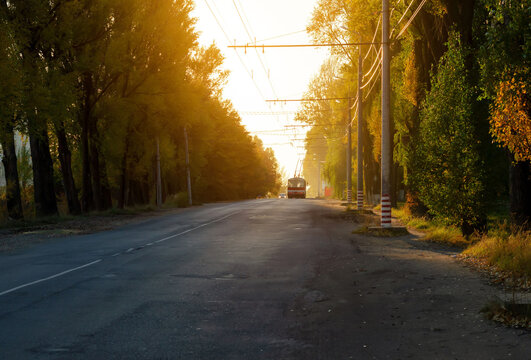 Trolleybus travels far down the road in the evening in a small town among the trees at sunset