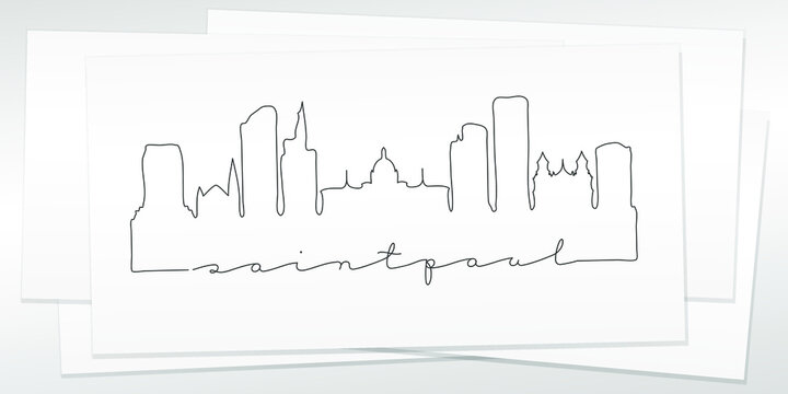 St Paul, MN, USA Doodle Skyline Hand Drawn. City One Line Art Illustration Landmark. Minimalistic Sketch Pen Background.