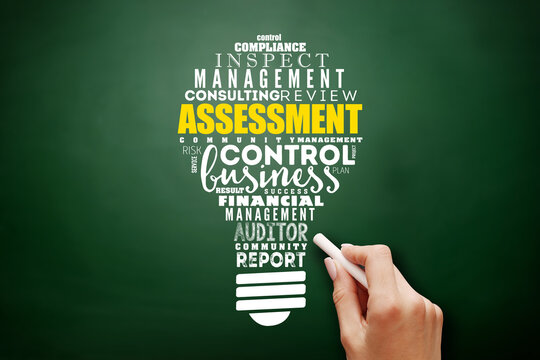 ASSESSMENT light bulb word cloud collage, business concept on blackboard