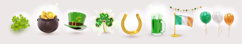 Obraz Big set of St. Patrick's Day realistic symbols. Irish holiday consisting of pot of gold coins, green hat, golden brooch clover, flag, balloons, horseshoe. Design elements. Vector illustration. - fototapety do salonu