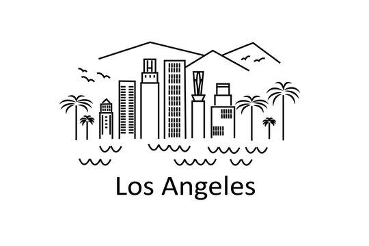 Los Angeles line art illustration