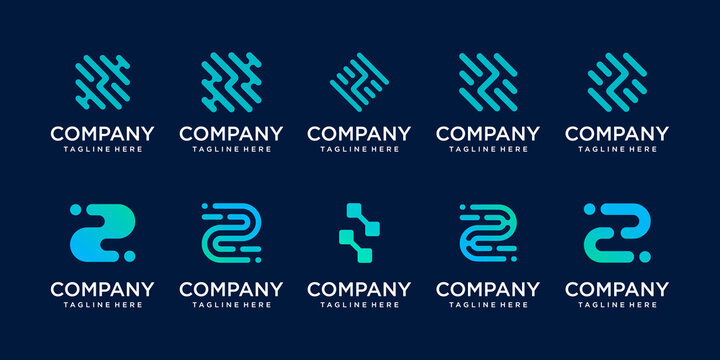 Set of collection initial letter Z logo template. icons for business of fashion, sport, automotive, technology digital.