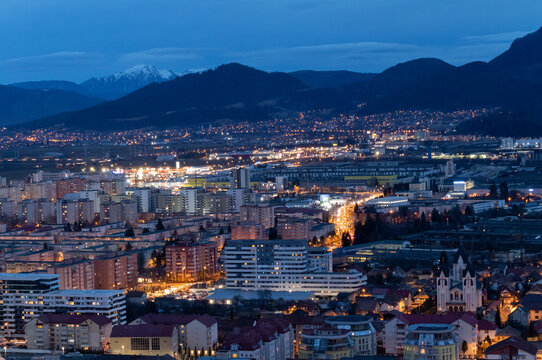 View of Brasov cityscape during evening