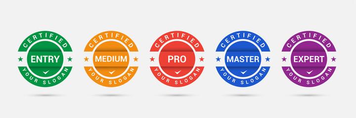Obraz Logo badge for standard certified training criteria company. Vector illustration certify logo design. Certification icon business template. - fototapety do salonu