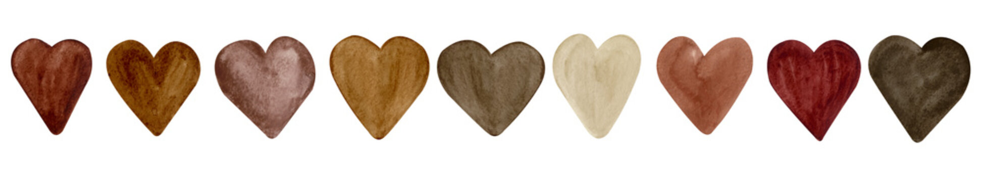 Brown Watercolor Hearts Isolated on White Background. Black Lives Matter, Sign of Peace and Friendship