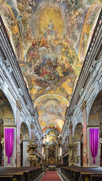Brno, Czech Republic. Interior of Church of Assumption of Virgin Mary or Jesuit Church. Church was built in 1598-1602 and modified in 17th and 18th centuries. Ceiling fresco was painted in 1744.