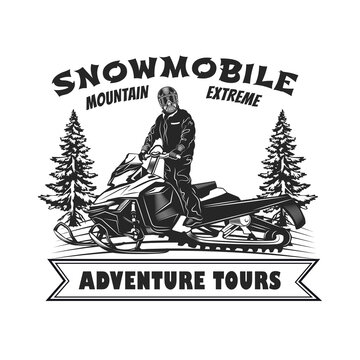 Engraving badge for adventure tours vector illustration. Monochrome label with man in helmet on snowmobile. Extreme and winter sport concept can be used for retro template