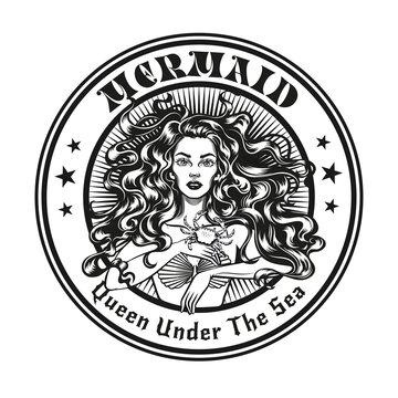 Mermaid emblem or stamp design. Monochrome element with girl in seashell bra vector illustration with text. Sea or sailing concept for symbols and labels templates