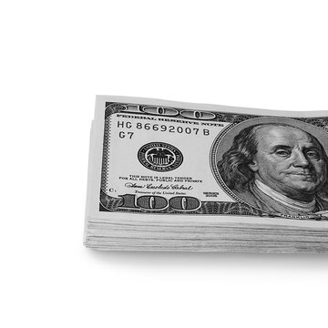 A large stack of hundred-dollar cash bills on a white background. Isolated.