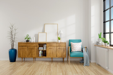 Modern Mid Century And Minamalist Interior Of Living Room Blue Armchair With Wood Cabinets