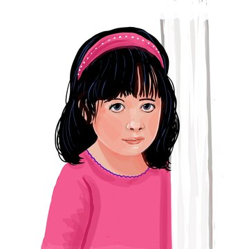Cartoon illustration of a little girl dressed in pink with a matching headband leaning on a white pole on a white background.