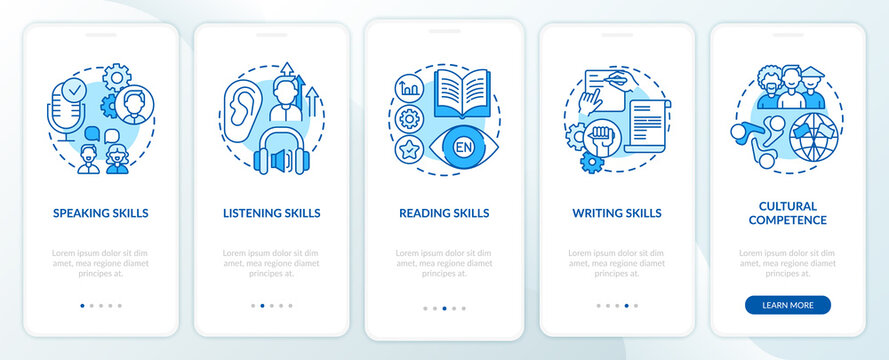Language learning competencies onboarding mobile app page screen with concepts. Speaking, writing skills walkthrough 5 steps graphic instructions. UI vector template with RGB color illustrations
