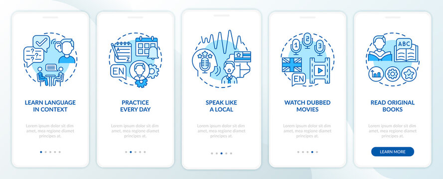 Learning language advices onboarding mobile app page screen with concepts. Language in context, subtitles walkthrough 5 steps graphic instructions. UI vector template with RGB color illustrations