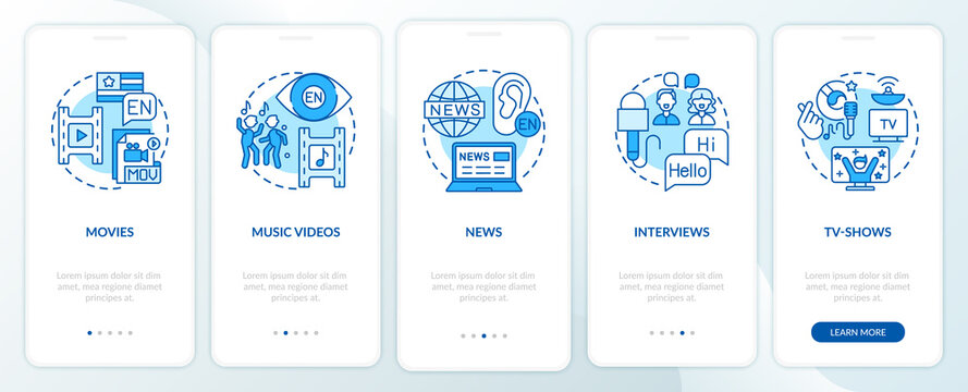 Video for language learning onboarding mobile app page screen with concepts. Movies, newspapers, interviews walkthrough 5 steps graphic instructions. UI vector template with RGB color illustrations