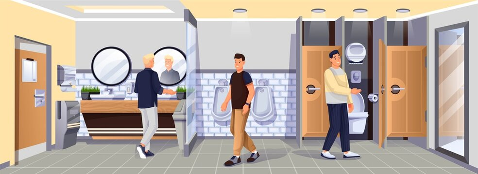People in public toilet. Restroom for men vector illustration. WC room with sinks, mirrors, urinals, toilets with doors, hand dryer, paper towels. Modern indoor interior background