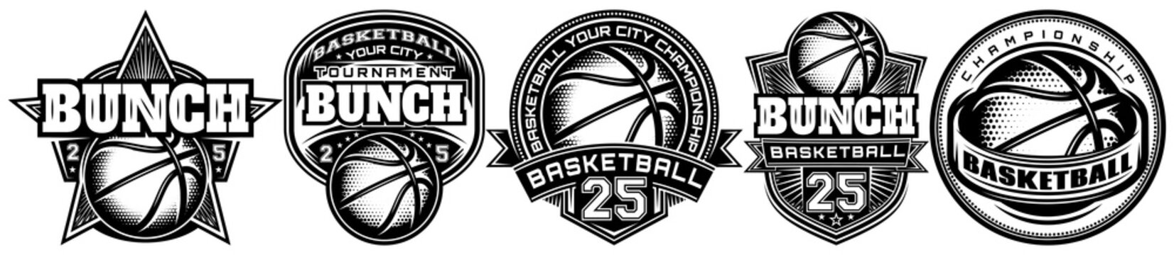 Set of monochrome templates on the theme of basketball. Vector editable illustration. Elements for business card design, style, website, print on a t-shirt