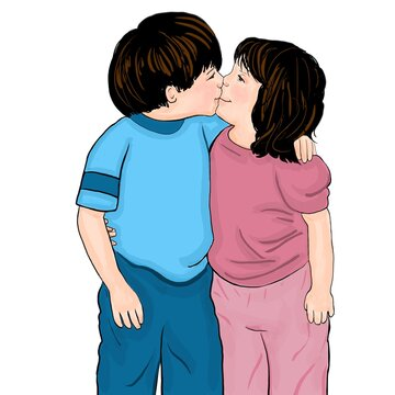 Puppy love, boy and girl, the kiss, sweet, love,  warm, cartoon of two children.