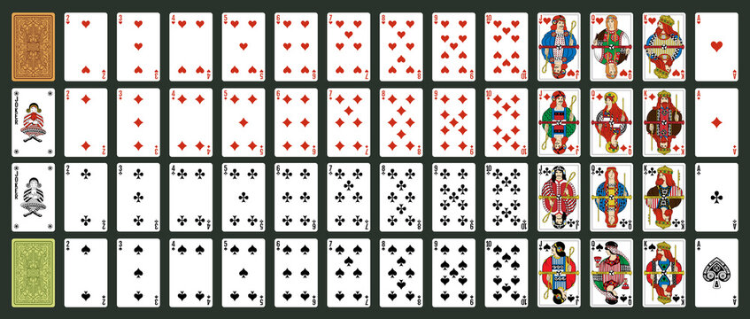 Irland playing cards, simplified version. Poker set with isolated cards. Poker playing cards, full deck.