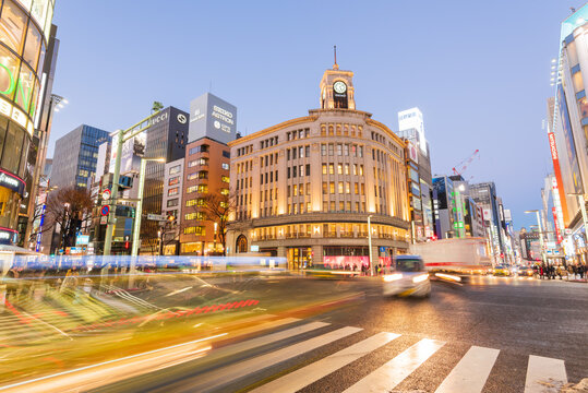 Tokyo, Japan - January 18, 2016: Night Traffic during rush hour at the Mitsukoshi Ginza Store in Ginza, Tokyo, Japan at night.