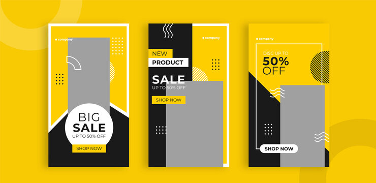 Set of editable templates for Instagram story, Facebook story, social media, sale, advertisement, and business promotion, yellow black color, and minimalist vector (3/3)