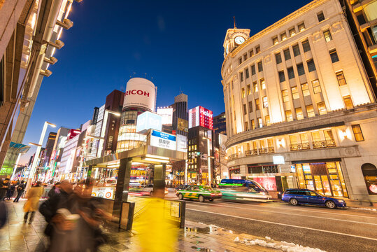 Tokyo, Japan - January 18, 2016: Night life at Ginza district at night and is one of the most famous city night views in Japan.