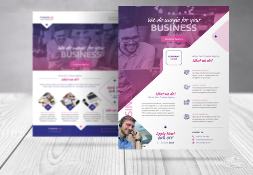 Business Flyer Layout with Magenta and Blue  Accents