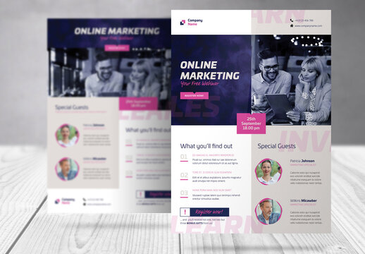 Webinar Invite Flyer with Blue and Magenta  Accents