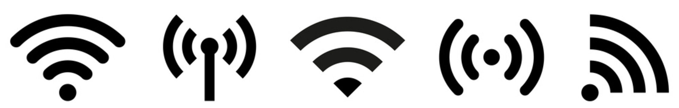 WI-FI and wireless icon. Wi-fi signal collection. Remote internet access collection. Internet Connection symbol.