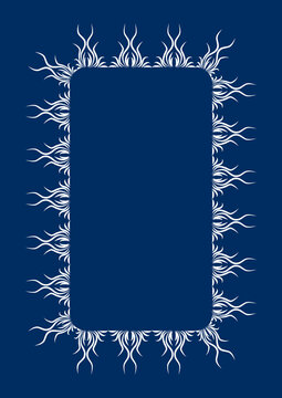 Abstract graphic is a lace plant-based frame. Styling. Two colors - white and blue.