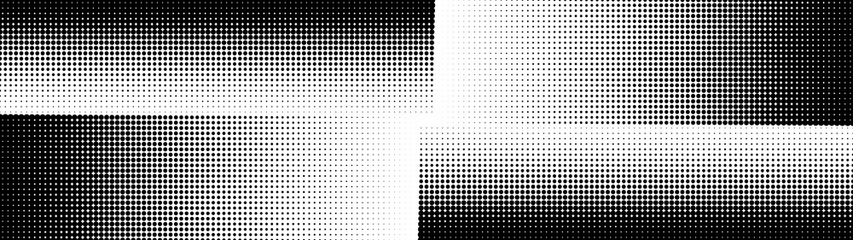 Obraz Halftone. Comic pattern. Abstract dotted radial background. Texture of black dots. Gradient background. Vector illustration. - fototapety do salonu