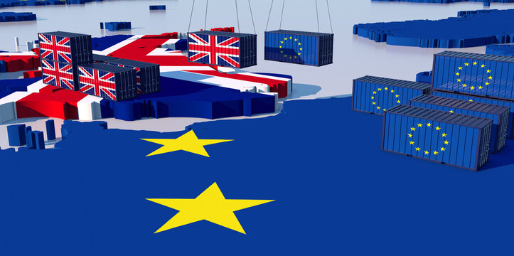 TRADE BETWEEN england and eu. Containers face each other
