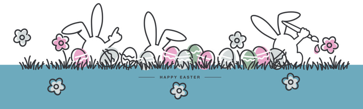 Easter line design bunny and flowers colorful eggs in grass Easter egg hunt spring pastel color palette 2021 greeting card
