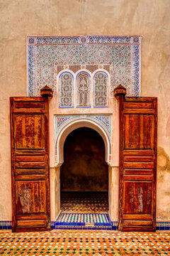 Marrakesh, Morocco - April 4, 2019: Design details of the Bahai Palace in Marrakesh Morocco