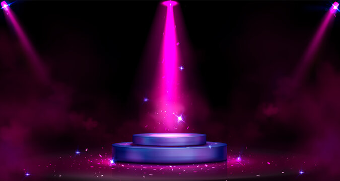 Round podium with spotlight illumination, stage Transparent png background illustration