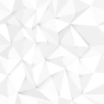 White polygonal background. Abstract monochrome seamless vector illustration.