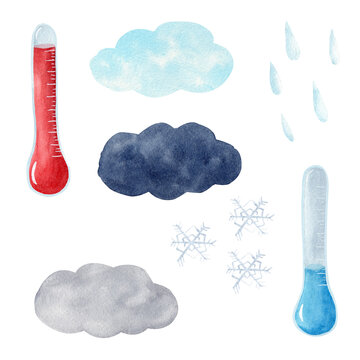 Watercolor thermometer, clouds, raindrops, snowflakes. Weather elements clipart set.