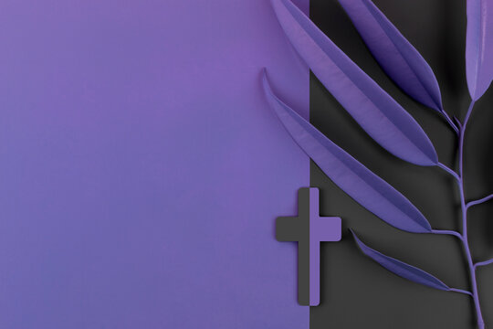 Lent Season, Holy Week and Good Friday concepts. Catholic Cross with palm leaves on purple and gray background. Flat lay. Copy space.