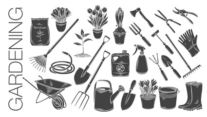 Fototapeta Gardening tools and plants