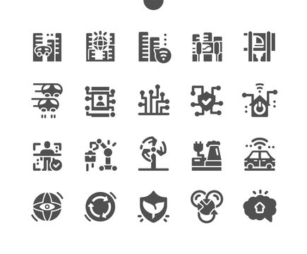 City of the future. Unmanned vehicles. Electronic protection. Spaceflight. Innovation, solution, technology, futuristic, modern. Vector Solid Icons. Simple Pictogram