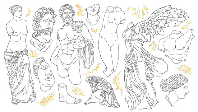 Vector set of antique sculptures. Antique statues Venus, Apollo, Nike, greek statue head and body. Linear icons greek gods