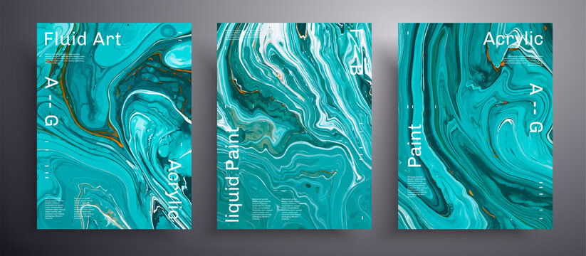 Abstract vector placard, texture collection of fluid art covers. Artistic background that applicable for design cover, poster, brochure and etc. Blue, turquoise and white creative iridescent artwork