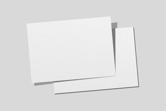 Realistic blank A4 landscape flyer brochure for mockup. Paper or poster illustration. 3D Render.